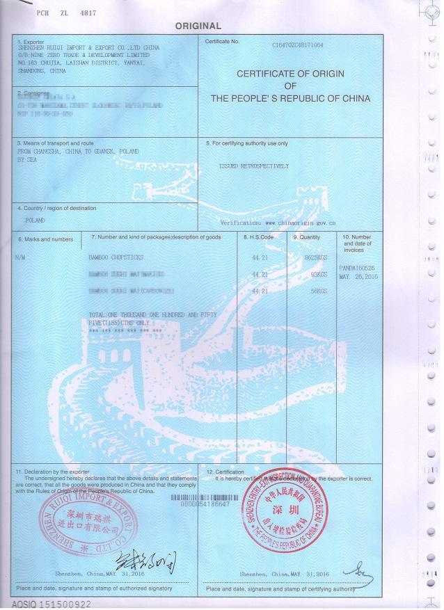bamboo-chopstick-certificate C/O