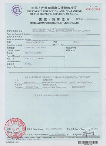 chopsticks-fumigation-certificate